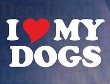 I LOVE/HEART MY DOGS Novelty Vinyl Car/Van/Window/Bumper Sticker/Decal