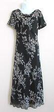 TALBOTS Dress Black & White Floral Chiffon Long LINED Cowl Neckline Size 4