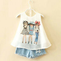 Toddler Kids Baby Girls Summer Outfit Clothes Top T-Shirt + Jeans Short Pants