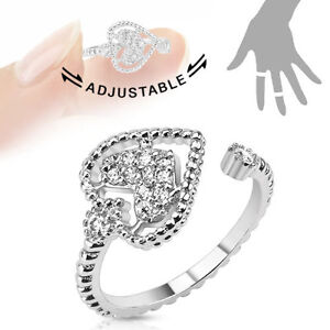 Heart Multi-Paved Gems Adjustable Rhodium Plated Brass Mid-Ring/Toe-Ring