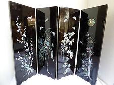 2002 FIFA Folding Screen Black Lacquer Abalone Inlay Korea Japan Decor Table Top