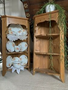 Pine Corner Shelves PAIR! Waxed Vintage, Farmhouse