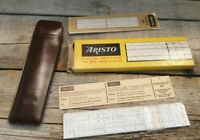 Vintage Aristo Nr.89 Slide Ruler With Brown Leather Pouch original box Germany