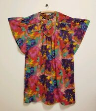 Vintage Judith Ann Lounge Wear Cotton Kaftan House Dress Bold Psychedelic Floral