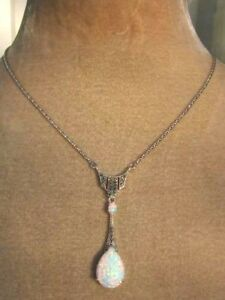 Sterling Silver Opal & Marcasite Deco Vintage style Peardrop statement Necklace