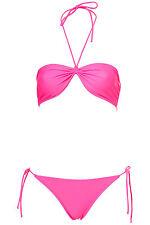 Topshop Pink Fluro Bandeau Bikini Set Swimwear UK 12 EURO 40 US 8 BNWT
