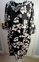 THOUGHT (Braintree) Shift Dress 14 Black White Floral Ethical Organic POCKETS
