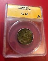 1924 1FR FRANCE OPEN 4 ANACS AU 58