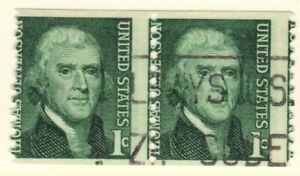 US EFO Scott #1299 Coil Pair USED 1c Jefferson Major Misperf!
