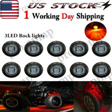 "10x 3/4"" Smoke Underbody Light Red Led Rock Lights For Jeep Offroad Truck Atv"