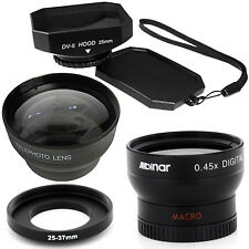 25mm Wide Angle and Telephoto Lenses, Hood for Sony Handycam DCR-HC28 Camcorder