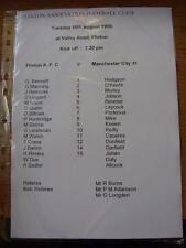 18/08/1998 Teamsheet: Flixton v Manchester City [Friendly] (folded)