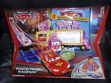 Disney Cars 2  TRACK SET PHOTO FINISH RACEWAY w/ TIRE TALKY TRUCK TAIA DECOTURA