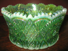 Green Opalescent iridescent / Carnival glass serving candy bowl diamond pattern