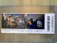 2015 LA Dodgers @ San Diego Padres Mint Ticket Stub 9/3 Corey Seager Debut Game!