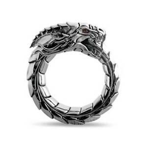 Vintage Men's Dragon Ring Punk Viking Nordic Giant Dragon Biker Jewelry Ring