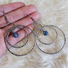 Vintage Womens Bohemian Boho Triple Rings Bead Dangle Drop Hookie Hook Earrings