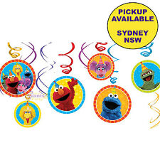 SESAME STREET BIRTHDAY PARTY SUPPLIES 12 PACK SWIRLS HANGING DECORATIONS