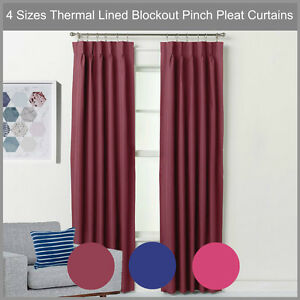PINCH PLEAT BLOCKOUT CURTAIN PAIR THERMAL LINED BLACKOUT DRAPE