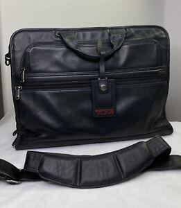TUMI Black Leather Laptop Messenger Bag