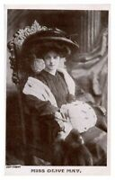 Antique RPPC postcard Miss Olive May actress stage theatre Gaiety Girl