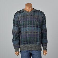XL 1980s Missoni Uomo Mens Plaid Pull Over Sweater Long Sleeves V Neck 80s VTG
