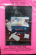 BED-n-BAG Kitty Lou's FASHION DOLL Sewing Pattern PILLOWS & Bunny Slippers QUILT