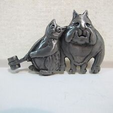 Jewelry Pewter Pin - The odd couple Cat and Dog