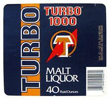 Adolph Coors Co TURBO 1000 MALT LIQUOR beer label CO 40oz