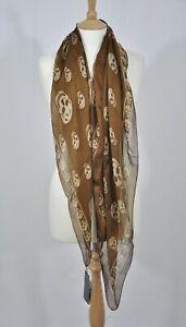 Authentic Alexander McQueen MCQ Skull-print Silk Long Scarf in Brown