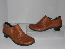 Rieker Brown Ruched Leather Slip On Clogs Loafers Booties Size 37 / 6 Shoes
