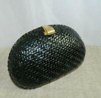 Vanessa  Handbag Vintage Lacquered Wicker Woven Crossbody Gold Accents Chain