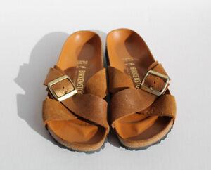 Birkenstock Siena Womens Narrow Tan Suede Gold Metallic Sandals Size 37