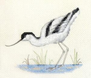 AVOCET Water Bird  Counted cross stitch kit + all materials  Fido Stitch Studio