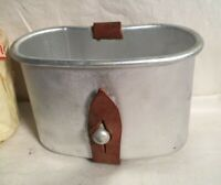 WWII WWI era aluminum CANTEEN CUP leather S A MMM SPANISH Spain ARMY military