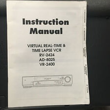 Operating Owner Manual for Sensormatic RV-2424 AD-8025 CamEra VR-2400 VCR