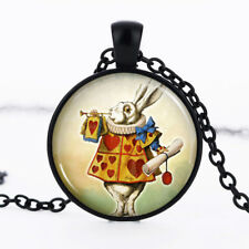 White Rabbit photo dome Black Cabochon Glass Necklace chain Pendant