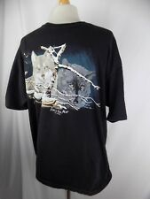 Black & White Wolves Wolf Pack Eyes in the Mist Shirt Cotton Tee Men's XL