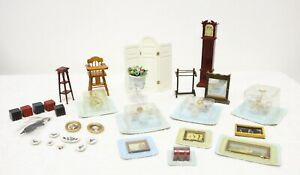 Vintage Doll House Furniture Accessories Lot Grandfather Clock Chandelier Lights