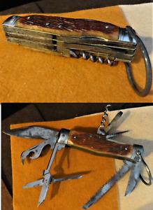 Vintage Multi Purpose Stag Handle Folding Pocket Knife - High Quality - Unmarked