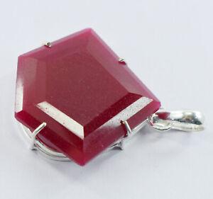 98 Ct Fancy Shape Red Ruby EGL Certified Pendant .925 Sterling Silver