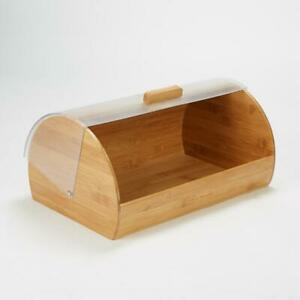 Mind Reader Bamboo Bread Box Container with Roll Top Plastic Cover