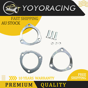 """3"""" 76MM Universal Stainless Steel 3 Bolt Exhaust Flange Plate Gasket Set Kit AUS"""