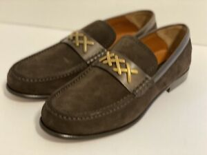 ERMENEGILDO ZEGNA COUTURE MENS BROWN SUEDE LEATHER LOAFERS SHOES, SIZE US.10/EUR