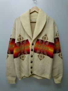 PENDLETON Authentic 1980's Vintage Native Cardigan White Size M Used from Japan