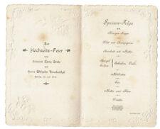 Speisefolge Hochzeitsfeier 1901 Zeven Anna Grote & Wilhelm Freudenthal Schmuck