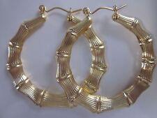 New 18 karat gold filled bamboo doorknocker hoop earring