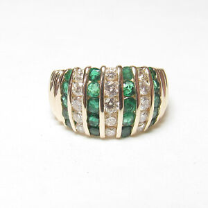 BH EFFY Estate 14K Yellow Gold Natural Green Emerald And Diamond Ring 1.00 Ct