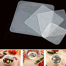 4PCS Silicone Wraps Kitchen Seal Cover Stretch Cling Film Fresh Food Keep Tools
