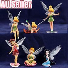 6x Tinkerbell Fairy Birthday Figure Cake Topper Figurine Garden Decor Toys EA